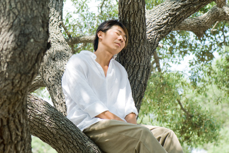 Man sitting on tree branch, eyes closed LANG_EVOIMAGES