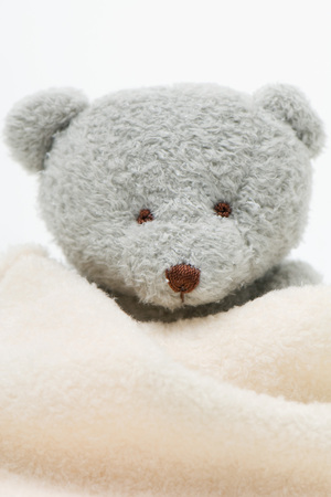 Teddy bear wrapped in blanket, close-up