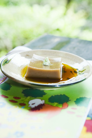 Goma dofu (tofu made from ground sesame paste and kudzu powder), served with soy sauce and wasabi