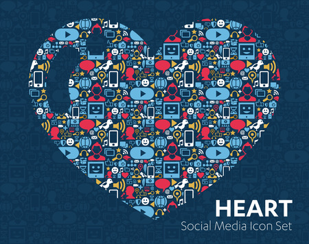 flat icons technology, social media, network, computer concept. Abstract background with objects  group of elements. star smiley face sale. Share, Like, Comment, Vector illustration Twitter, YouTube, WhatsApp, Snapchat, Facebook, instagram, heart, love
