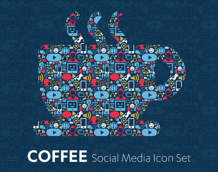 editorial: flat icons technology, social media, network, computer concept. Abstract background with objects  group of elements. star smiley face sale. Share, Like, Comment, Vector illustration, Coffee Cup