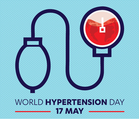 commemoration day: World Hypertension Day, world blood donor day, heart blood Sphygmomanometer, blue band and commemorative, hand, arm