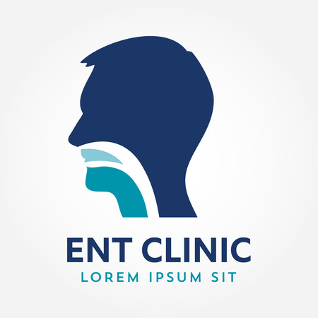 ENT logo template. Head for ear, nose, throat doctor specialists. logo concept. Line vector icon. Editable stroke. Flat linear illustration isolated on white background