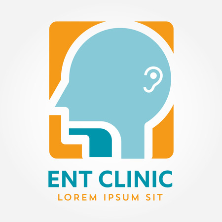 ENT: ENT logo template. Head for ear, nose, throat doctor specialists. logo concept. Line vector icon. Editable stroke. Flat linear illustration isolated on white background