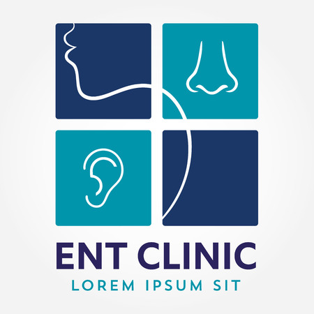 Modèle de logo ENT. Dirigez-vous pour les médecins spécialistes de l'oreille, du nez et de la gorge. concept de logo. Icône du vecteur de ligne. AVC éditable. Flat illustration linéaire isolé sur fond blanc