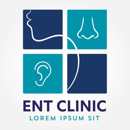 Modèle de logo ENT. Dirigez-vous pour les médecins spécialistes de l'oreille, du nez et de la gorge. concept de logo. Icône du vecteur de ligne. AVC éditable. Flat illustration linéaire isolé sur fond blanc Banque d'images - 85683109
