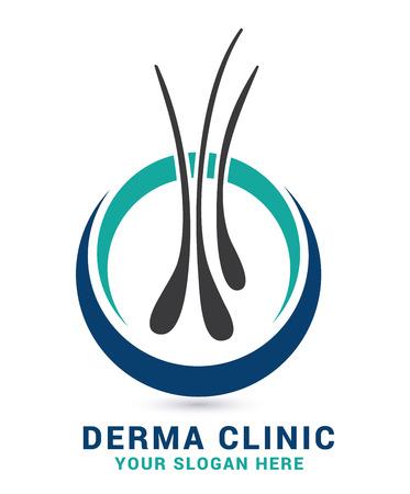 毛の心配の皮膚科学のロゴのアイコンは、卵胞の医療診断記号で設定します。脱毛症治療と移植の概念.ベクターイラスト。