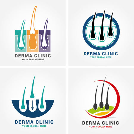 Hair care dermatology logo icon set with follicle medical diagnostics symbols. Alopecia treatment and transplantation concept. Vector illustration.