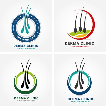 Logo de logo de dermatologie pour soins capillaires avec symboles de diagnostic médical sur les follicules. Concept de traitement et de transplantation d'alopécie. Illustration vectorielle. Logo