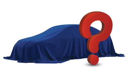 questions: Presentation of New Car With Question Mark wrapped under a sheet Gift red bow, Close up a new car hidden under cover. Car on the podium covered with a satin cloth before presentation, Red, Blue.