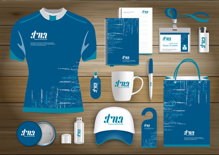 Network Gift Items, Color promotional souvenirs design for link corporate identity with technology lines Illustration