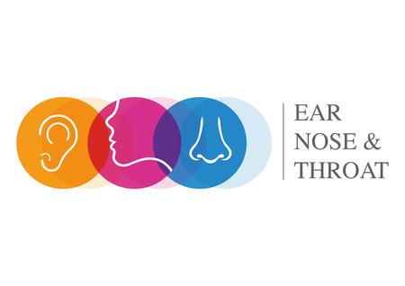 Plantilla ENT. Dirígete a los especialistas en oído, nariz y garganta. Ilustración de vector
