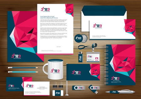 Corporate Identity Business  template design Vector abstract stationery , Gift Items Color promotional souvenirs elements. link digital technology set, 向量圖像