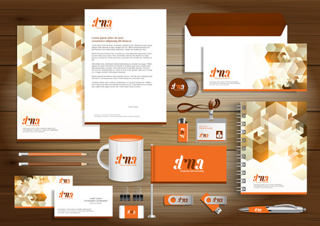 Corporate Identity Business  template design Vector abstract stationery , Gift Items Color promotional souvenirs elements. link digital technology set, Stock Illustratie