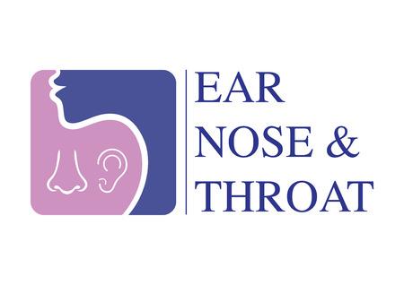 HNO-Logo-Vorlage. Kopf für Hals-Nasen-Ohren-Arztspezialisten. Logo-Konzept. Linienvektorsymbol. Bearbeitbarer Strich. Flache lineare Illustration isoliert auf weißem Hintergrund