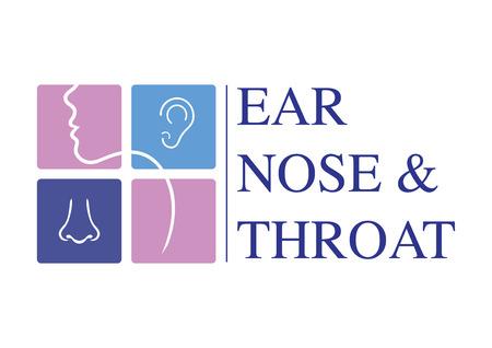 HNO-Logo-Vorlage. Kopf für Hals-Nasen-Ohren-Arztspezialisten. Logo-Konzept. Linienvektorsymbol. Bearbeitbarer Strich. Flache lineare Illustration isoliert auf weißem Hintergrund Logo