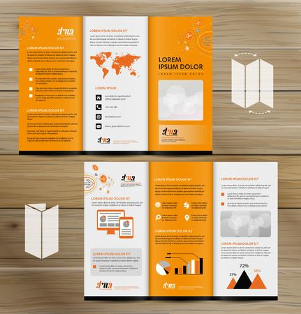 Tri-Fold Brochure Mock-up, Realistic Rendering of Tri-Fold Brochure Background, 3D Illustration. abstract business tri fold Leaflet Flyer vector design set, three fold presentation layout a4 size Stock fotó - 111363397