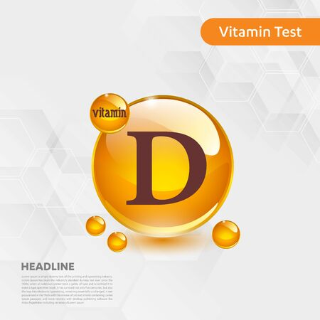 Vitamin D sun icon, cholecalciferol. golden drop complex. Medical for heath Vector illustration Illustration