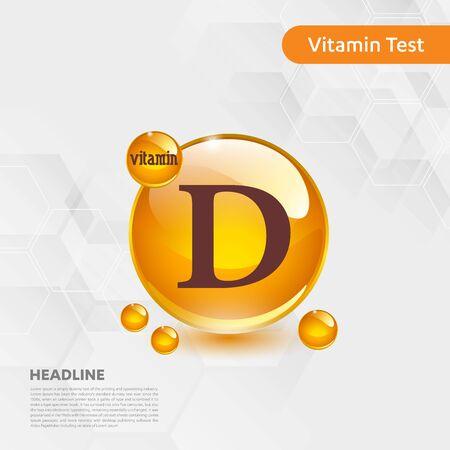 Vitamin D sun icon, cholecalciferol. golden drop complex. Medical for heath Vector illustration Ilustrace