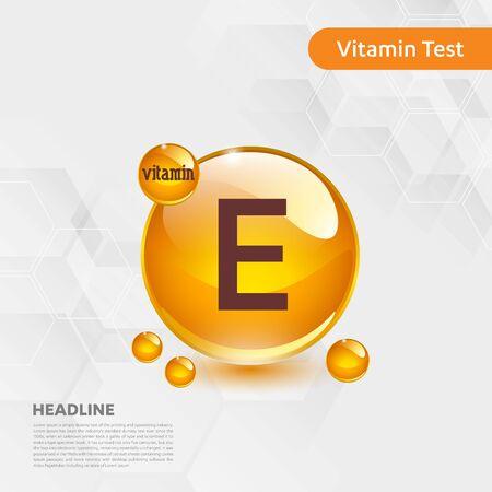 Vitamin E sun icon, cholecalciferol. golden drop complex. Medical for heath Vector illustration Illustration
