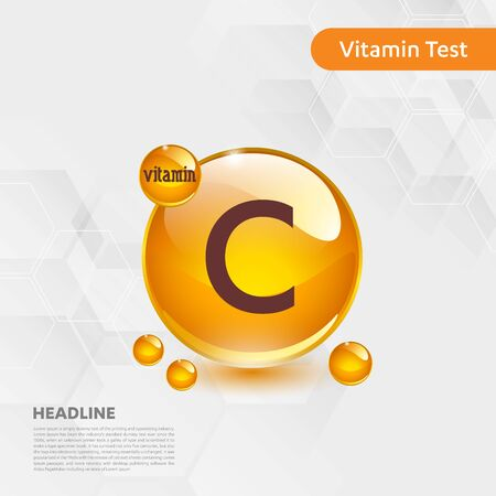 Vitamin C sun icon, cholecalciferol. golden drop complex. Medical for heath Vector illustration