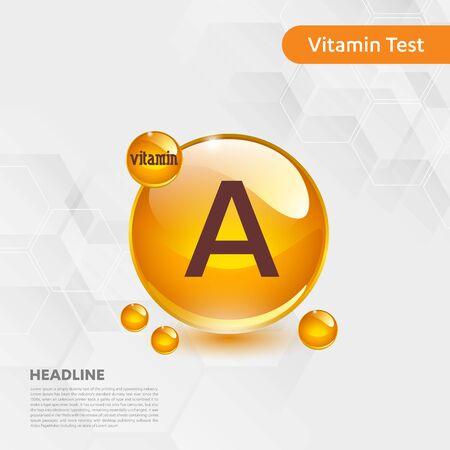 Vitamin A sun icon, cholecalciferol. golden drop complex. Medical for heath Vector illustration Illustration