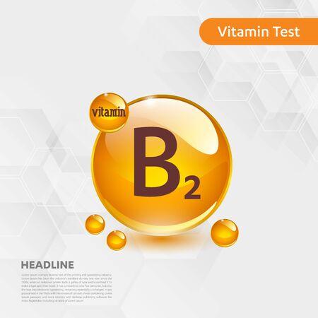Vitamin B2 sun icon, cholecalciferol. golden drop complex. Medical for heath Vector illustration