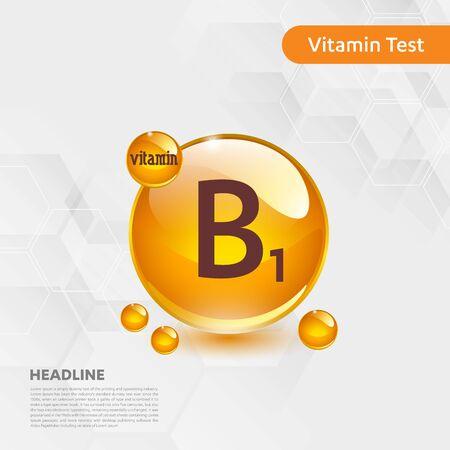 Vitamin B1 sun icon, cholecalciferol. golden drop complex. Medical for heath Vector illustration Illustration