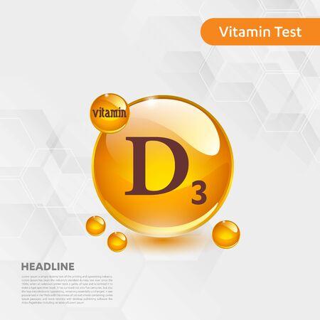 Vitamin D3 sun icon, cholecalciferol. golden drop complex. Medical for heath Vector illustration Illustration
