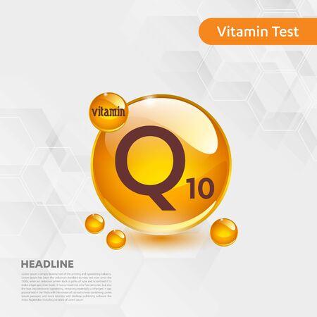 Vitamin Q10 sun icon, cholecalciferol. golden drop complex. Medical for heath Vector illustration