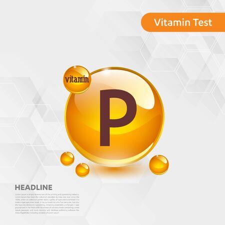 Vitamin P sun icon, cholecalciferol. golden drop complex. Medical for heath Vector illustration Illustration