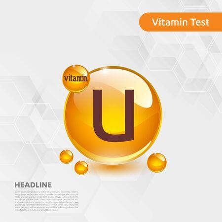 Vitamin U sun icon, cholecalciferol. golden drop complex. Medical for heath Vector illustration