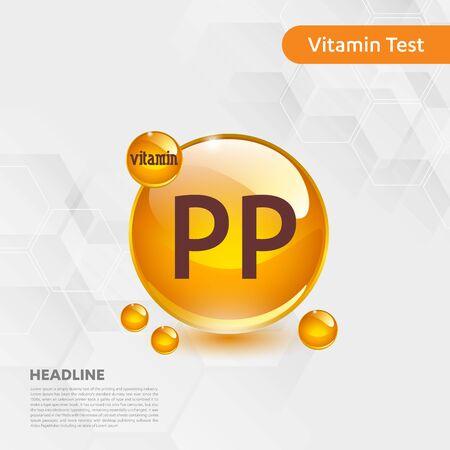 Vitamin PP sun icon, cholecalciferol. golden drop complex. Medical for heath Vector illustration Illustration