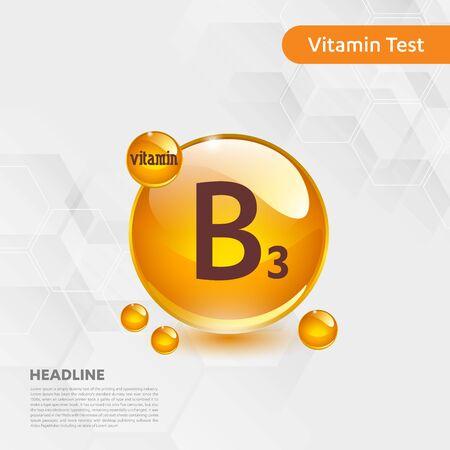 Icône soleil vitamine B3, cholécalciférol. complexe de goutte d'or. Médical pour la santé Illustration vectorielle