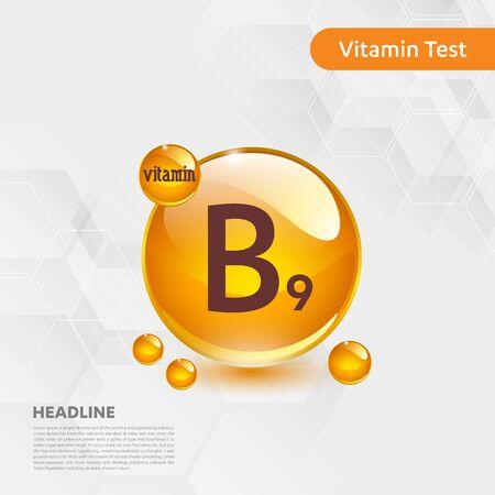 Vitamin B9 sun icon, cholecalciferol. golden drop complex. Medical for heath Vector illustration Illustration
