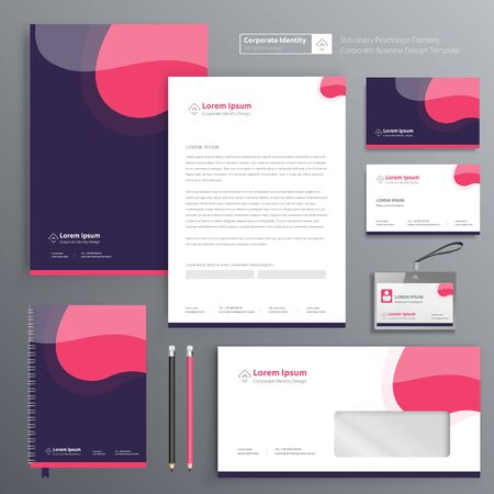 Corporate Business Identity template design Vector abstract stationery , Gift Items Color promotional souvenirs elements. link digital technology set, Zdjęcie Seryjne - 137491916