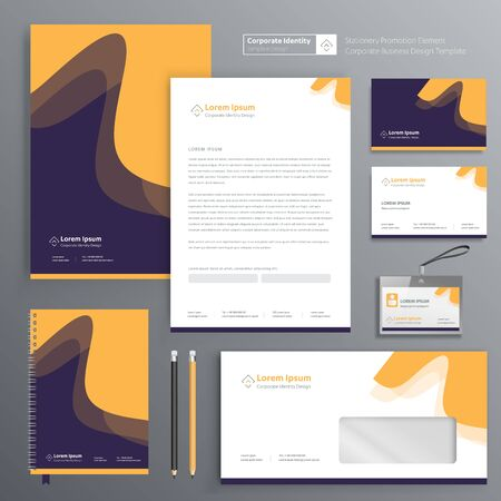 Corporate Business Identity template design Vector abstract stationery , Gift Items Color promotional souvenirs elements. link digital technology set, Zdjęcie Seryjne - 137491917