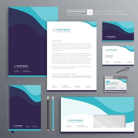 Diseño de plantilla de identidad empresarial corporativa Papelería abstracta de vector, artículos de regalo Elementos de recuerdos promocionales de color. conjunto de tecnología digital de enlace, Ilustración de vector