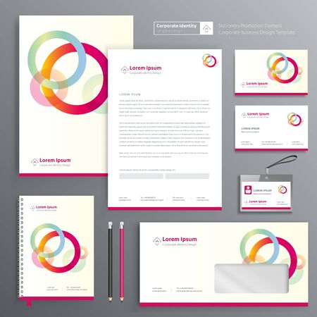 Corporate Business Identity template design Vector abstract stationery , Gift Items Color promotional souvenirs elements. link digital technology set, Zdjęcie Seryjne - 137491919