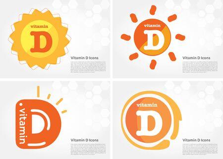 Vitamin D sun icon Drop collection set, cholecalciferol. golden drop Vitamin complex drop. Medical for heath Vector illustration