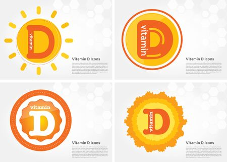 Vitamin D sun icon Drop collection set, cholecalciferol. golden drop Vitamin complex drop. Medical for heath Vector illustration