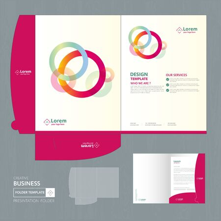 Corporate Business Design Folder Template for digital technology company. Element of stationery, people community friends presentation business, working promotion, Blue, Red, Zdjęcie Seryjne - 137491984