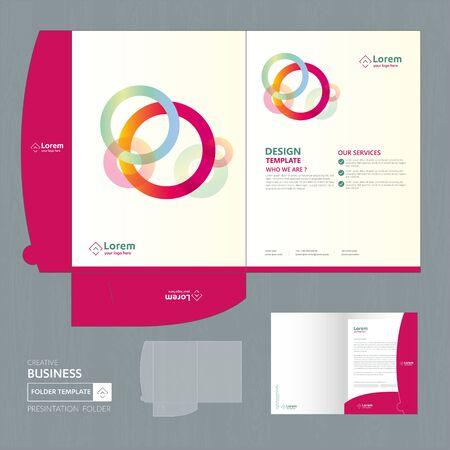 Corporate Business Design Ordnervorlage für Digitaltechnologieunternehmen. Element des Briefpapiers, Präsentationsgeschäft von Menschengemeinschaftsfreunden, Arbeitsförderung, Blau, Rot,