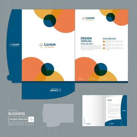 Corporate Business Design Folder Template for digital technology company. Element of stationery, people community friends presentation business, working promotion, Blue, Red,