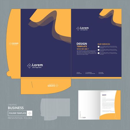 Corporate Business Design Folder Template for digital technology company. Element of stationery, people community friends presentation business, working promotion, Blue, Red, Zdjęcie Seryjne - 137491992