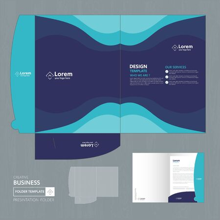 Corporate Business Design Folder Template for digital technology company. Element of stationery, people community friends presentation business, working promotion, Blue, Red, Zdjęcie Seryjne - 137491993