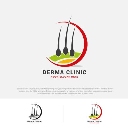 Hair care dermatology logo icon set with follicle symbols Alopecia treatment transplantation Vector illustration