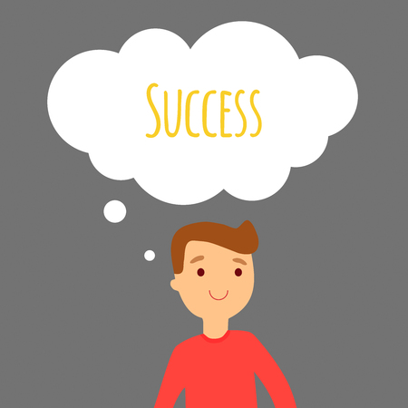 thinks: Vector illustration. The young man thinks about success. Illustration