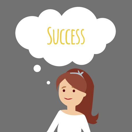 Vector illustration. The young women thinks about success. Illustration