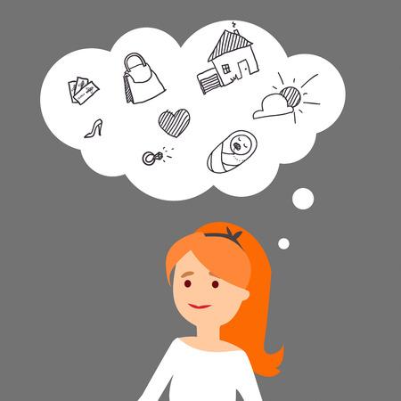 redheaded: Ilustraci�n del vector. Una joven pelirroja sue�a con la buena vida. Vectores